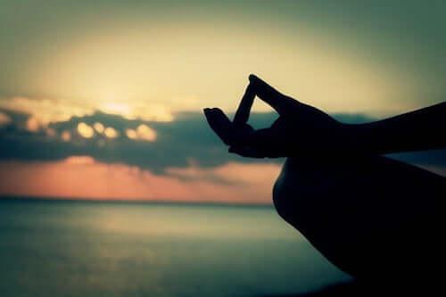 Persona che medita di fronte ad un tramonto sul mare.