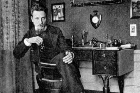 Rainer Maria Rilke nel suo studio.
