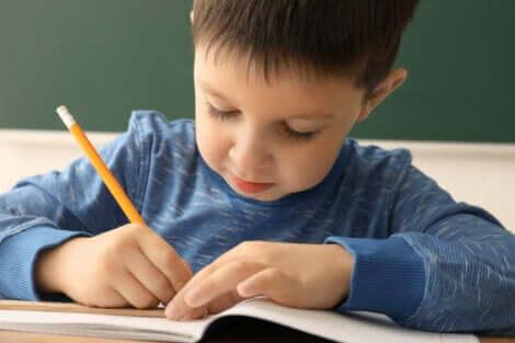 Bambino scrive su quaderno con matita.
