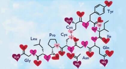 Formula chimica della ossitocina.