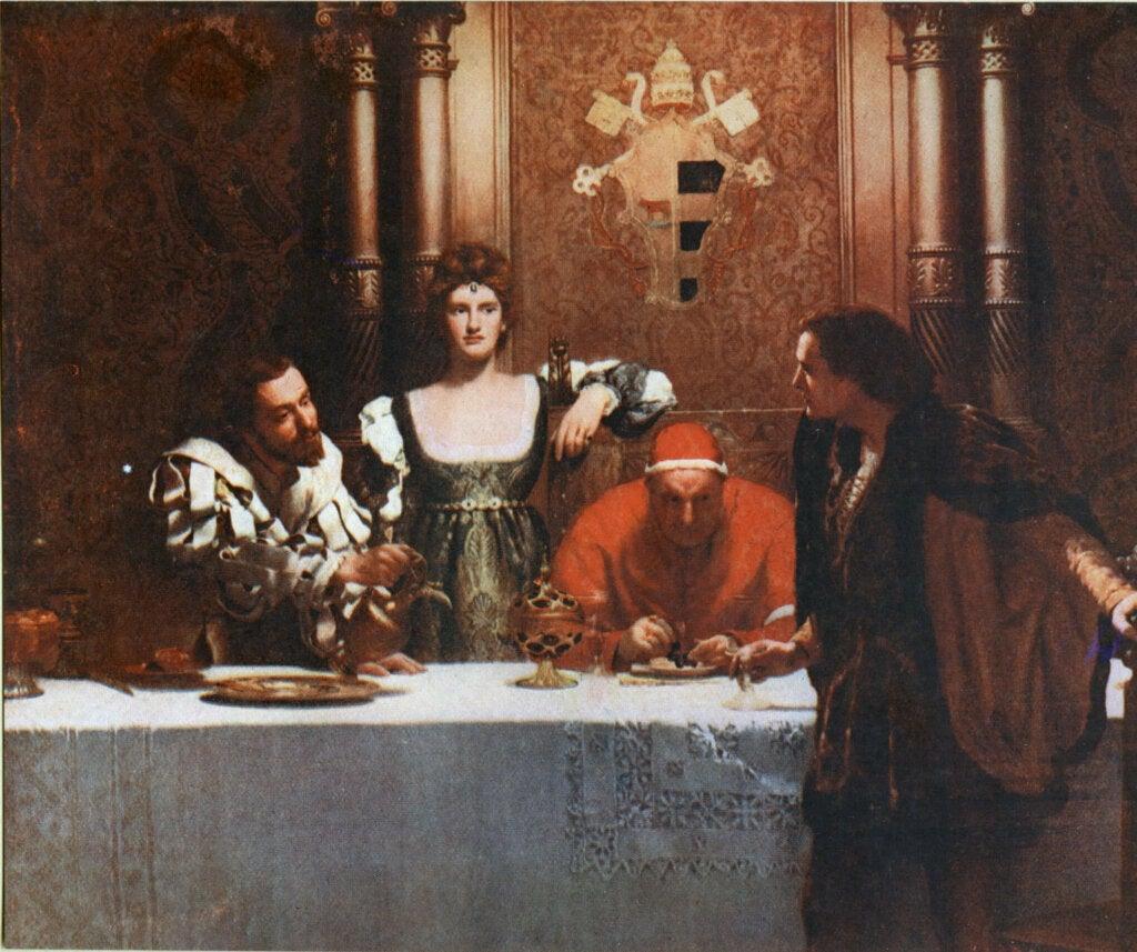 Quadro di john Collier con Cesare Borgia.