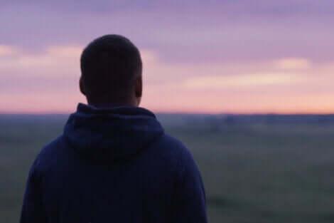 Ragazzo osserva il tramonto di spalle.