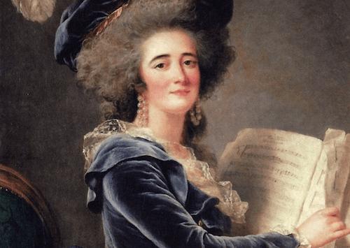 Ritratto di una donna con uno spartito musicale in mano.