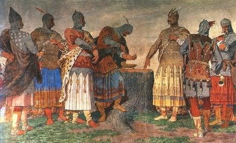 Dipinto dei cavalieri magiari.