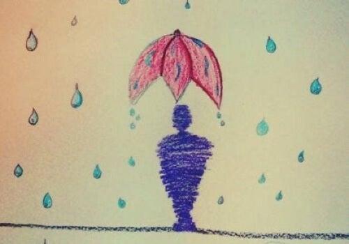 Uomo sotto la pioggia.