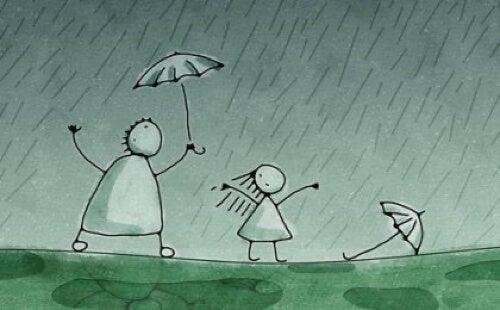 Disegno persone sotto la pioggia.
