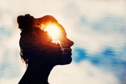 Testa di donna trasparente con luce all'interno.
