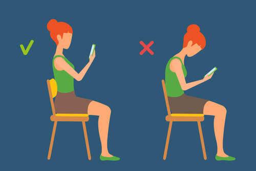 Illustrazione sulla postura corretta.