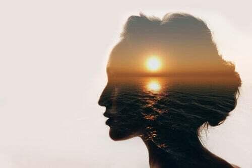 testa di una donna con un sole all'orizzonte.