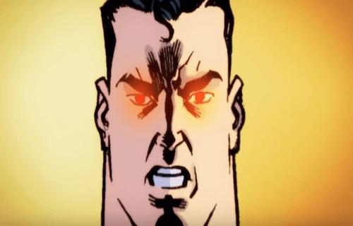 Personaggio dei fumetti con gli occhi rossi.