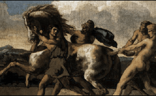 Dettaglio di cavalli dipinti da Théodore Géricault.