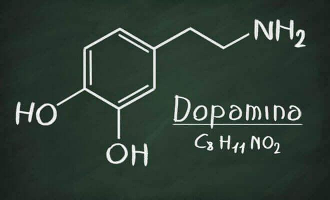 Formula chimica della dopamina.