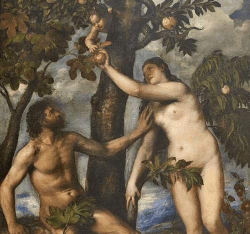 Quadro di Eva che raccoglie la mela.