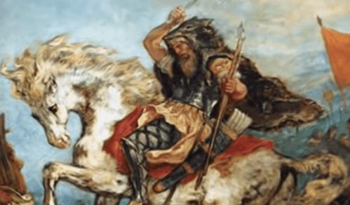 Dipinto del guerriero Attila a cavallo.