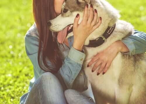 Cane abbracciato dalla sua padrona.