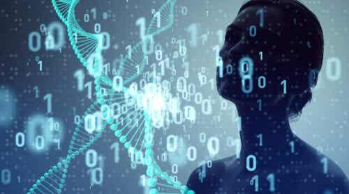 Donna circondata di dati secondo il dataismo.
