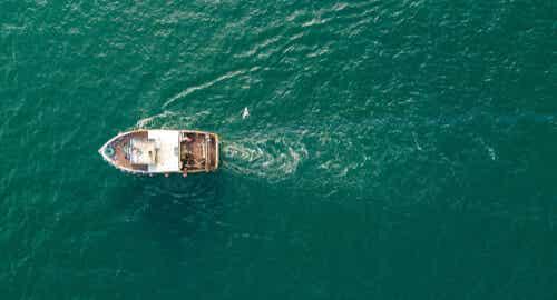 Una barca in mare.
