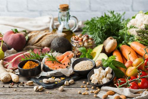 Alimenti che fanno parte della dieta mediterranea.